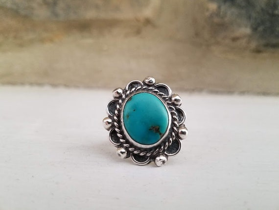 Vintage Sterling Silver Mexican Turquoise Ring