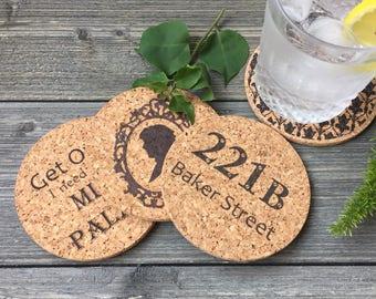 Sherlock Holmes Cork Coaster Set of 4, Version 2