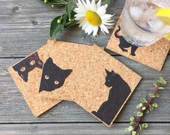 Black Cat Cork Coaster Set of 4, Great gift for cat lovers or Halloween decor