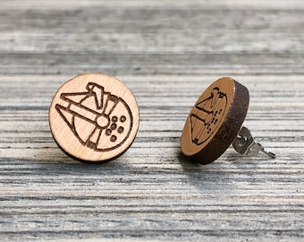Millenium Falcon, Starwars Themed Wooden Stud earrings