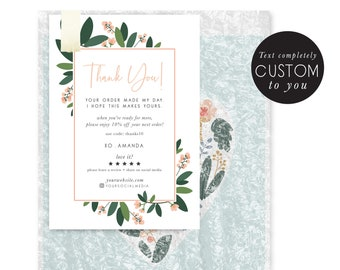 customized thank you - floral thank you - small business - coupon - promotional card - floral hand illustrated - thank you package insert