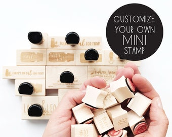 custom MINI stamp - perfect for SCRATCH-OFF cards - mini stamp - personalized - pick your text - pick your font