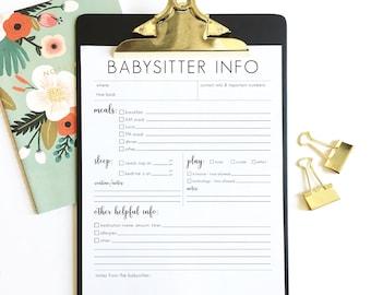 babysitter notes - babysitter information sheet - printable instant download - DIY - simple - babysitter form - nanny info - sitter info
