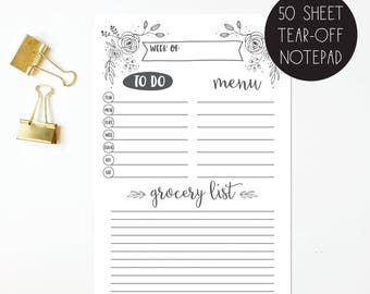 weekly meal planner notepad - grocery list pad - weekly to do list - hand illustrated florals - organizer - planner - notepad - to do list
