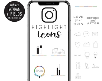 original SKIN CARE business theme Instagram HIGHLIGHT icons - hand illustrated - set of 20 - unique - instant - easy to use - skin biz icons