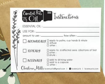 printable essential oil instruction cards - hand illustrated - EO recipes - personalized fill in - printable - customized - easy