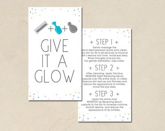 instant printable - mini facial cards - hand illustrated design - ready to print - skin care business - DIY - give it a glow - glow cards