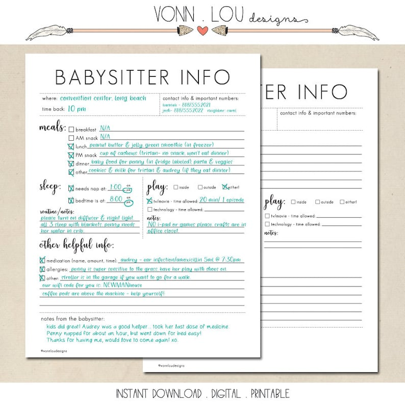 picture about Babysitter Information Sheet Printable identified as babysitter notes - babysitter written content sheet - printable prompt down load - Do-it-yourself - basic - babysitter type - nanny data - sitter details