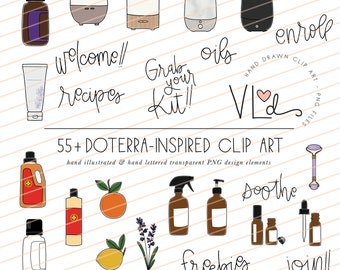 ESSENTIAL OIL clip art - hand illustrated - doterra inspired - set of 57 - personal use - original - digital - easy to use - transparent PNG