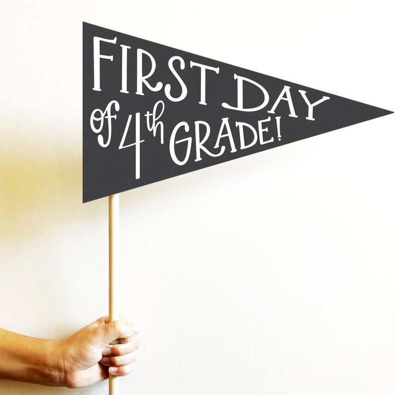 hand illustrated school printable pennant DIY -modern first day of school digital back to school sign custom color school sign