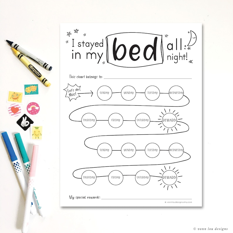 graphic relating to Sticker Chart Printable Pdf named are living inside mattress advantage chart - printable down load - hand illustrated - sticker chart - Do-it-yourself- infant working out - easy - I stayed in just mattress chart