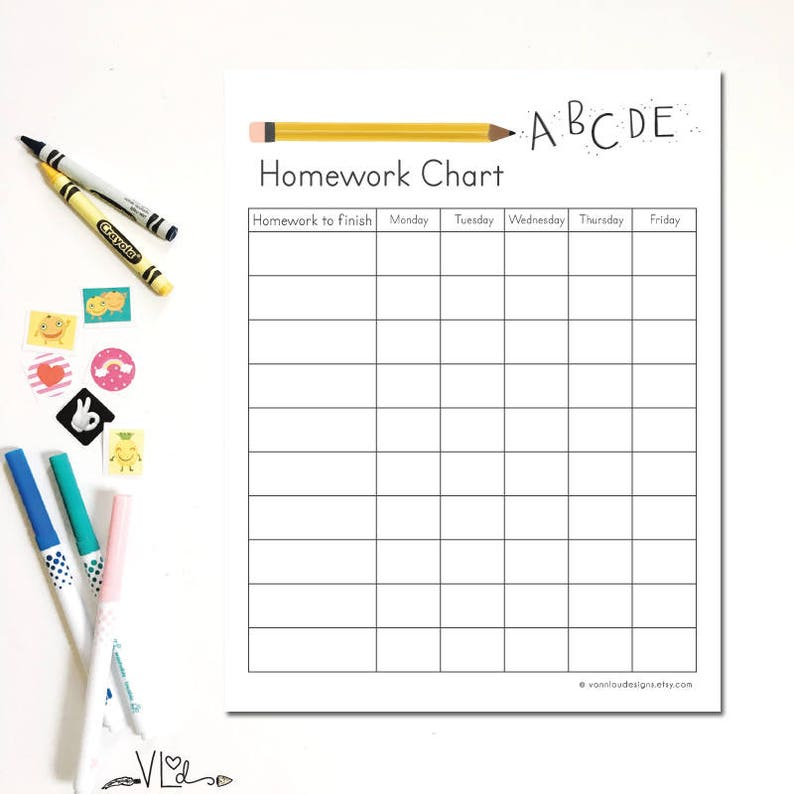 photograph relating to Printable Homework Chart identified as research chart - printable fast obtain - Do-it-yourself - hand illustrated - childrens weekly research and duties - kindergarten