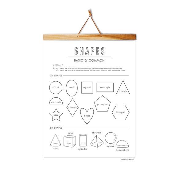 shapes chart - 2D shapes - 3D shapes - hand illustrated - printable instant  download - shapes wall art - homeschool wall art - DIY