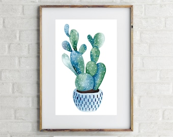 Watercolour Cactus Print | 5x7 DOWNLOADABLE PRINTABLE