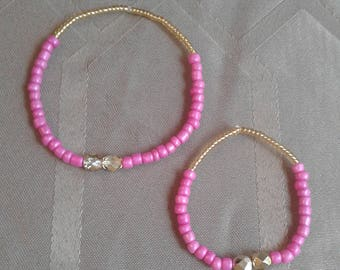 Pink and Gold Mommy and me bracelets, Stretchy, fear and anxiety relief Birthday gift