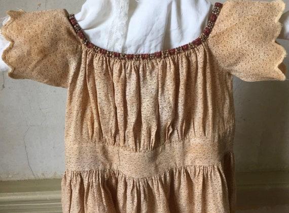 Antique fugitive purple beige cotton calico girl'… - image 3