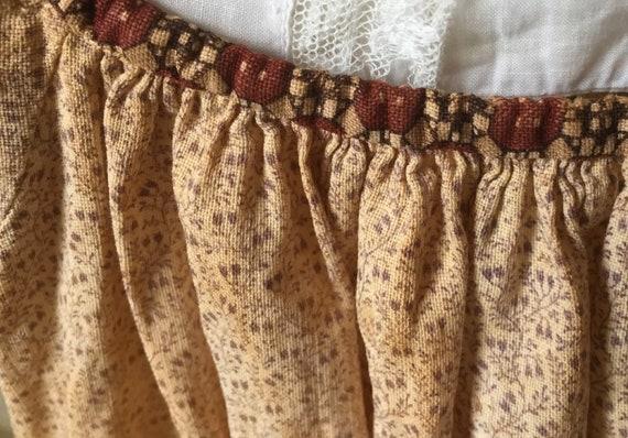 Antique fugitive purple beige cotton calico girl'… - image 8