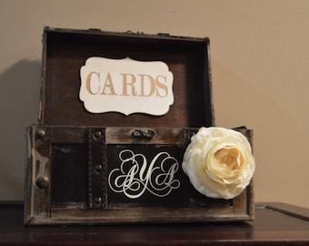 Medium Rustic Wedding Card Box Holder, Rustic Wedding Card Box, Rustic Trunk Wedding Box with Custom Wedding Monogram B2B