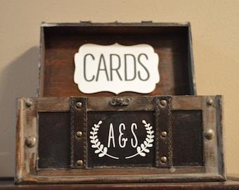 Wedding Card Box Holder,  Rustic Wedding Card Box with initials, Rustic Trunk Wedding Box with Custom Initials, Money Card Box, Rustic Box
