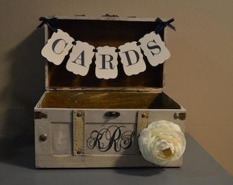 Medium Vintage Wedding Card Holder w/ Banner and Monogram Vintage Trunk Wedding Box with Custom Monogram Medium Trunk Card Box A2A