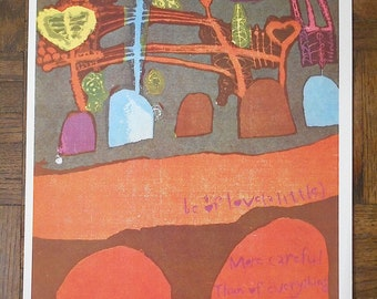 """Vintage Mid 20th C. Abstract Lithograph-Sister Mary Corita Kent-""""Be of Love"""""""