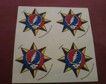 """Grateful Dead Steal Your Face 4on1  2 3/16""""x2 3/8""""(each)  STICKER DECAL"""