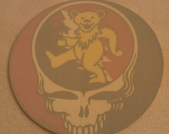 """Grateful Dead Steal Your Face Yellow Jerry Bear 5"""" Round Window STICKER DECAL"""