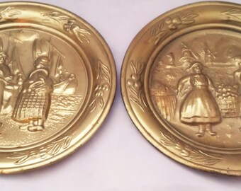 Two Hammered Brass Plates by Lombard C & A Ltd. Made in England