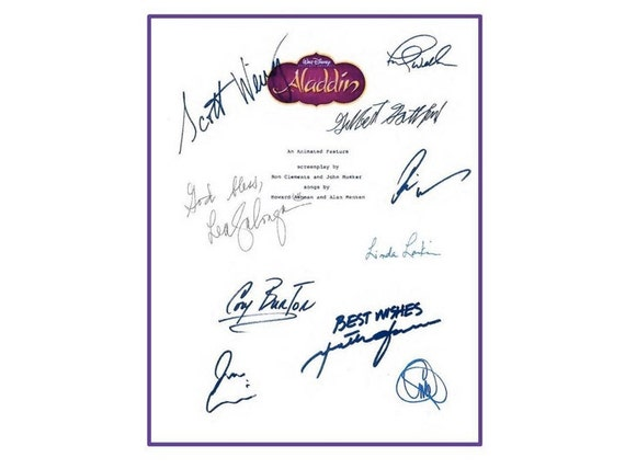 aladdin 1992 disney film entire movie script signed screenplay