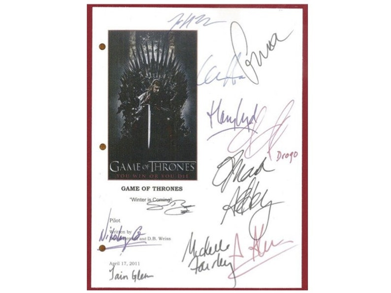 9d02b537993 Game of Thrones TV Pilot Script Signature Autographs  Mark