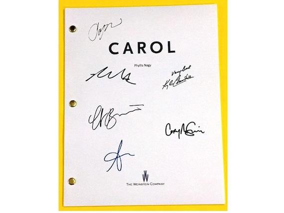 carol signed movie script cate blanchett rooney mara kyle etsy