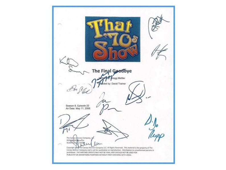 That 70's Show Finale May 2006 TV Script Autographed: image 1