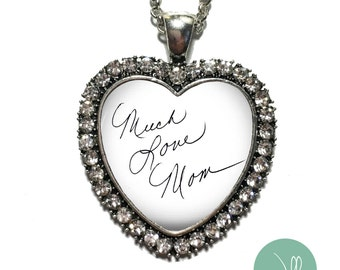 CUSTOM Handwriting Necklace - Handwriting Jewelry - Actual Handwriting, Custom Handwriting Pendant Necklace, Heart shaped pendant, bling