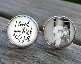 Father of the Bride Gift - Gift from Bride - cufflinks - wedding cuff links - weddings- I loved you first - gifts for dad - gift ideas Dads