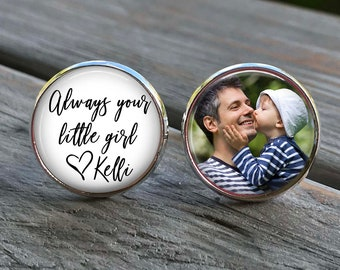 Father of the Bride Gift - Gift from Bride - cufflinks - always your little girl - wedding cuff links - weddings - gifts for dad - wedding