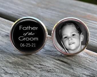Father of the Groom Cufflinks - Custom Photo Cuff Links - Silver Wedding Cufflinks - Picture Cuff Links - Father of the groom cuff links