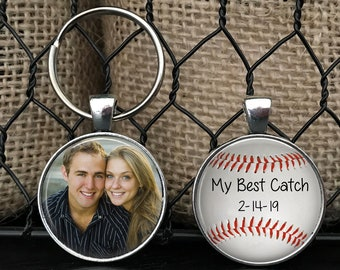 """ANNIVERSARY GIFT for boyfriend, husband with DATE - Your Photo on one side - Baseball theme - """"My Best Catch"""" - boyfriend, husband"""