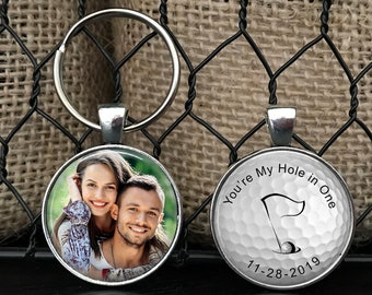 """ANNIVERSARY GIFT for boyfriend, husband with DATE - Your Photo on one side - Golf theme - """"You're my hole in one"""" golf, gift for him"""