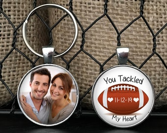 """ANNIVERSARY GIFT for boyfriend, husband with DATE - Your Photo on one side - Football theme - """"You tackled my heart"""" - boyfriend, husband"""