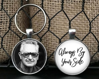MEMORIAL KEYCHAIN - Your LOVED one's photo on one side - remembrance - in memory of - in loving memory - memorial charm - memorial gift