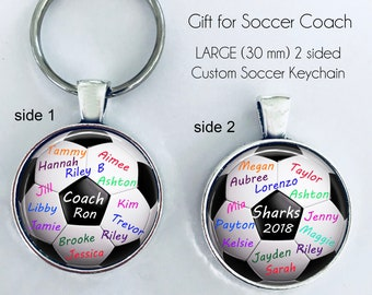 """Soccer Coach gift, PERSONALIZED SOCCER BALL key chain - 2 sided - gift for soccer coach from team """"signed"""" by team players, Soccer Coach"""