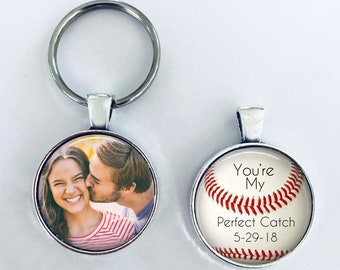 """ANNIVERSARY GIFT for boyfriend, husband, with Date - Your Photo on one side - Baseball theme - """"You're my perfect catch"""" - boyfriend,husband"""