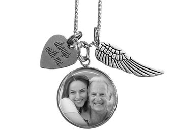 Custom Photo Memorial Necklace with angel wing, Loss of Loved One Charm Necklace, Stainless Steel Custom Picture necklace, In Memory