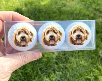 Your dog's face on a golf ball, set of 3 Custom golf balls with SAME photo, Your dog's photo on a golf ball, gifts for golfer, gifts for men