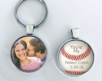 """ANNIVERSARY GIFT for boyfriend, husband with DATE - Your Photo on one side - Baseball theme - """"You're my perfect catch"""" - boyfriend, husband"""