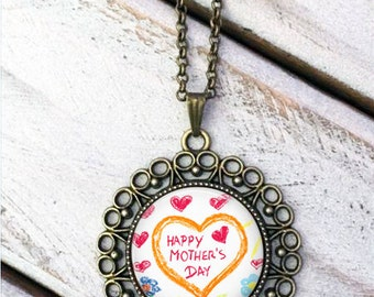 Child's Artwork Necklace - Children's Artwork Pendant Necklace - Your Child's Art - kid's artwork made into a necklace, Mother's Day gift