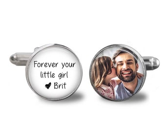 Father of the Bride Gift - Gift from Bride - FOB cufflinks - wedding cuff links - weddings- Forever your little girl - gifts for dad