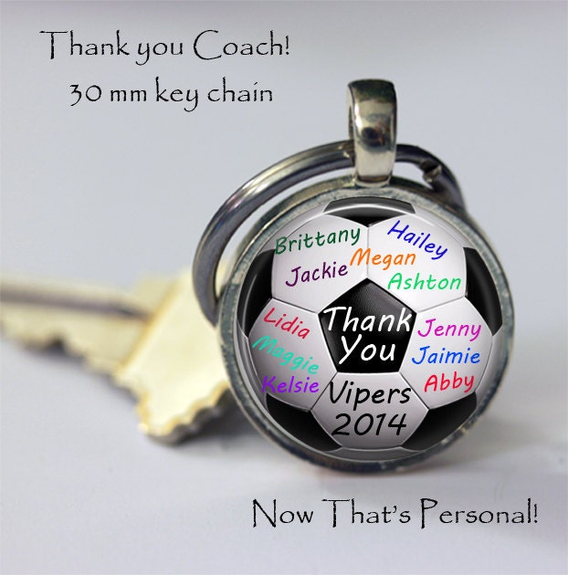 PERSONALIZED SOCCER BALL key chain - gift for soccer coach from team