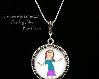 LARGE Child's Artwork Necklace - Children's Artwork Pendant Necklace - Your Child's Art ,Children's art - kid's artwork made into a necklace