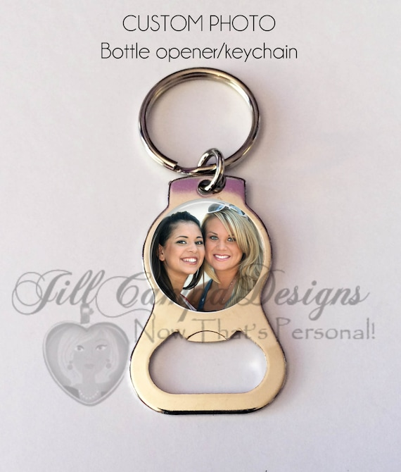 Personalized bottle opener keychain- photo key chain - photo bottle opener  - custom bottle opener - personalized gift - photo key ring